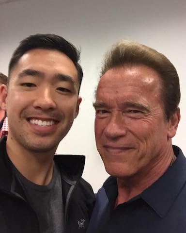Me and Arnold when he came to our all-hands